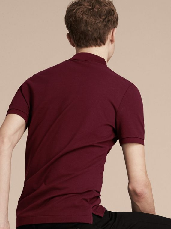 Fitted Mercerised Cotton-Piqué Polo Shirt Burgundy Red - cell image 2