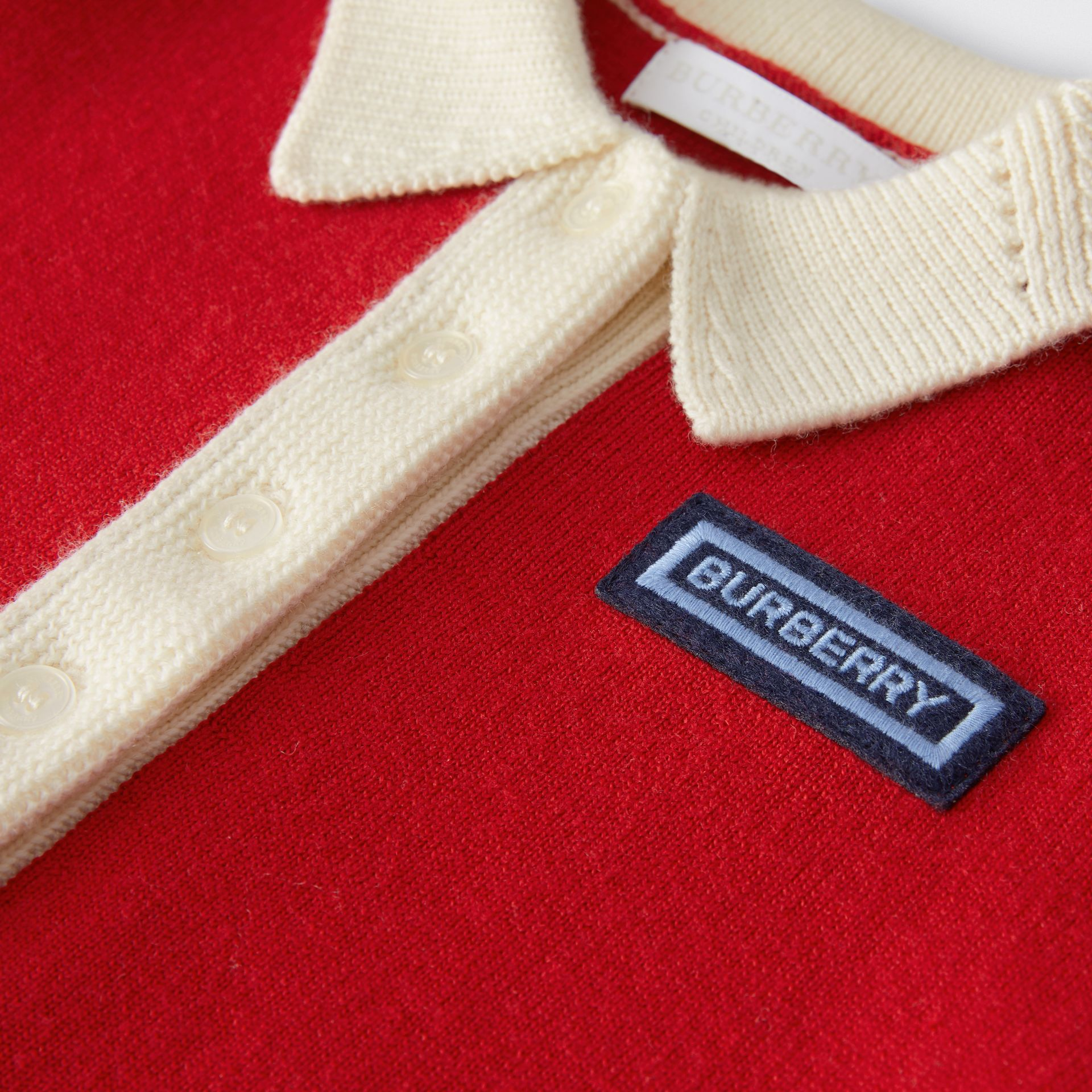 Logo Detail Merino Wool Blend Cardigan in Bright Red - Children | Burberry United Kingdom - gallery image 1