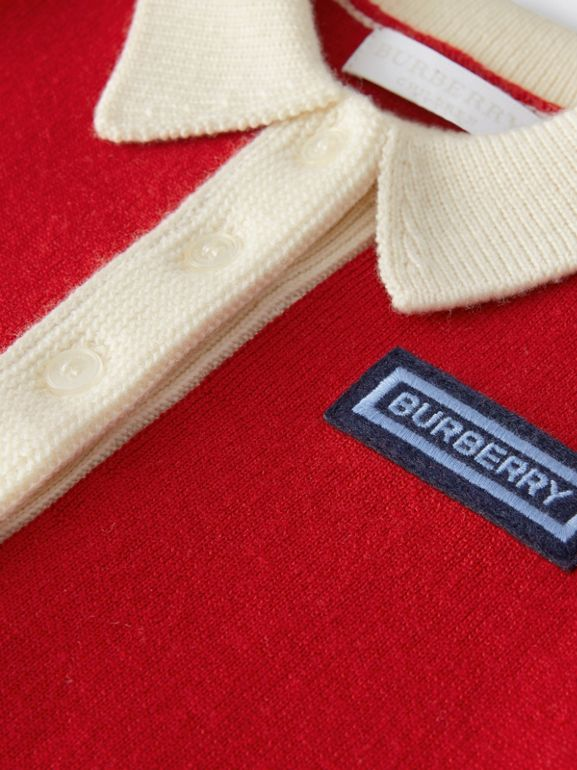 Logo Detail Merino Wool Blend Cardigan in Bright Red - Children | Burberry United Kingdom - cell image 1