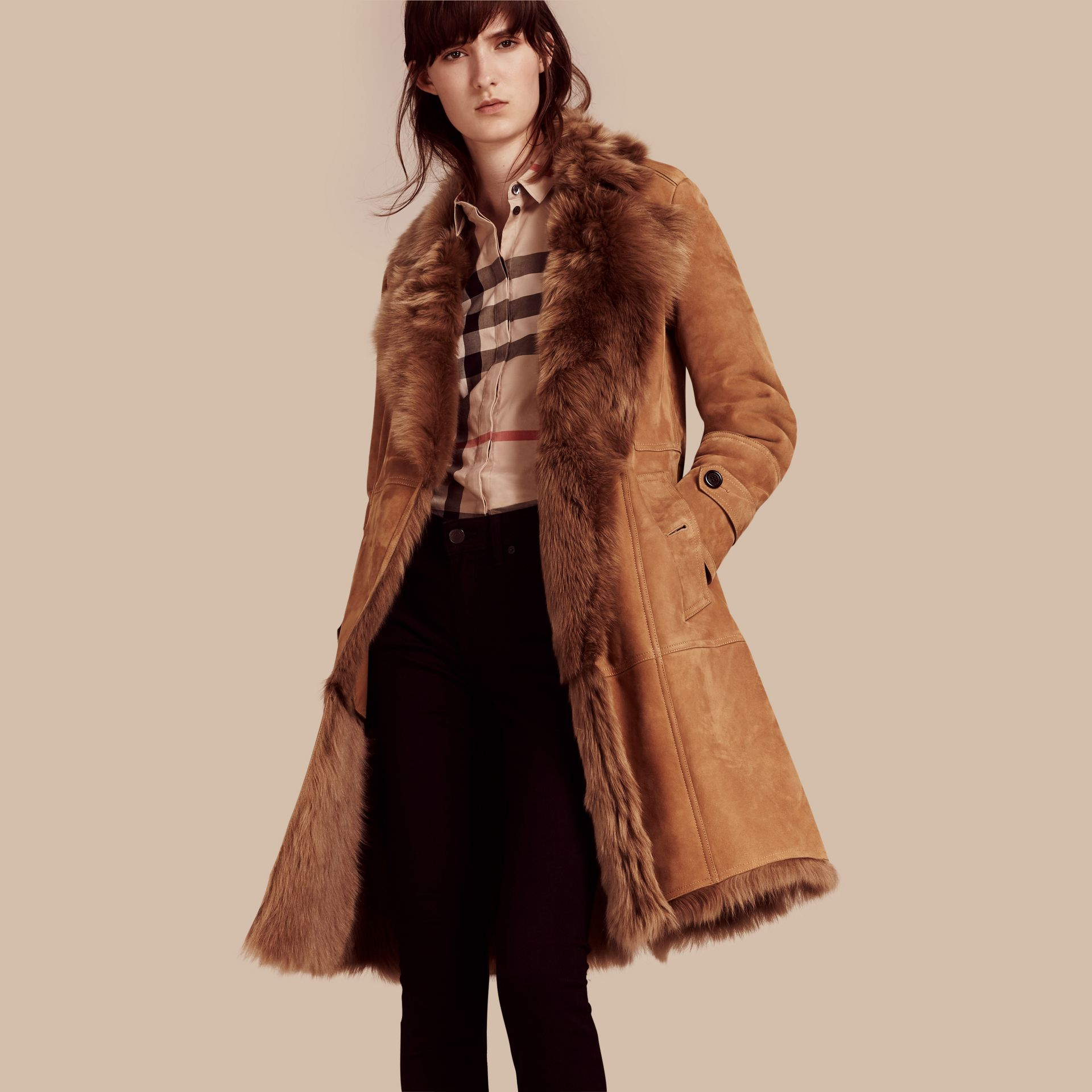 Shearling Wrap Coat - gallery image 1