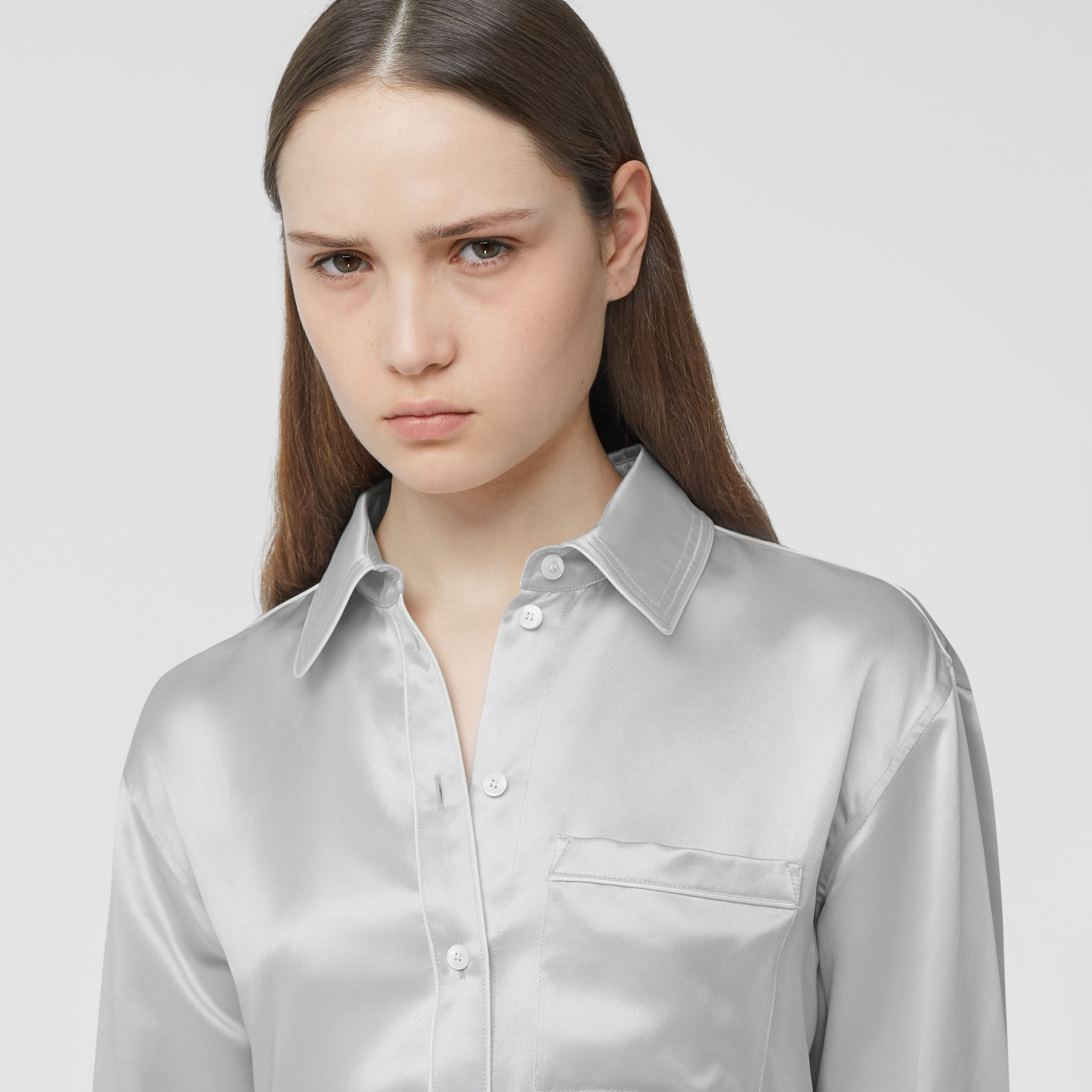 Silk Satin Shirt in Light Pebble Grey - Women | Burberry - 2