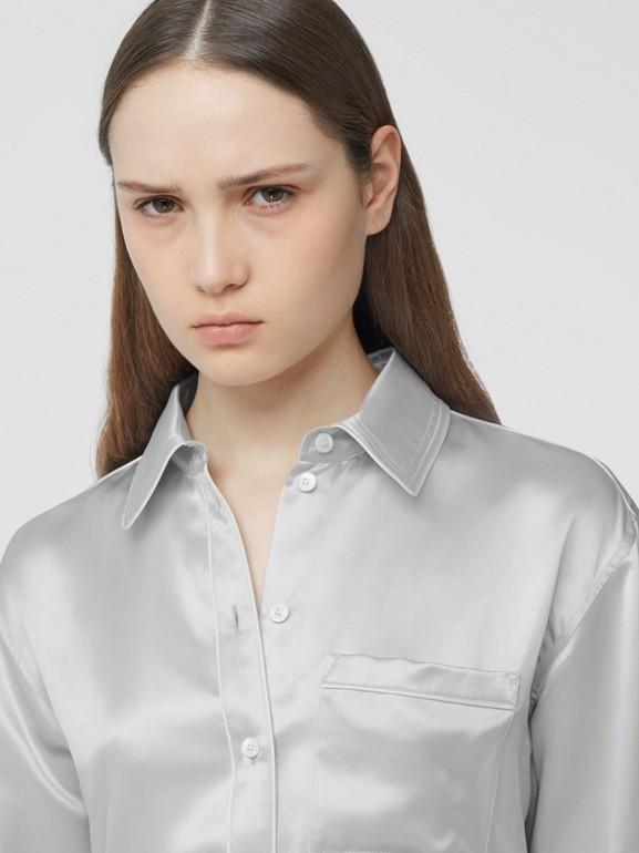 Silk Satin Shirt in Light Pebble Grey - Women | Burberry - cell image 1