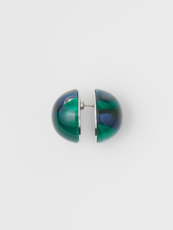 Marbled Resin Palladium-plated Sphere Earrings in Palladio/ocean Green - Women | Burberry - cell image 2