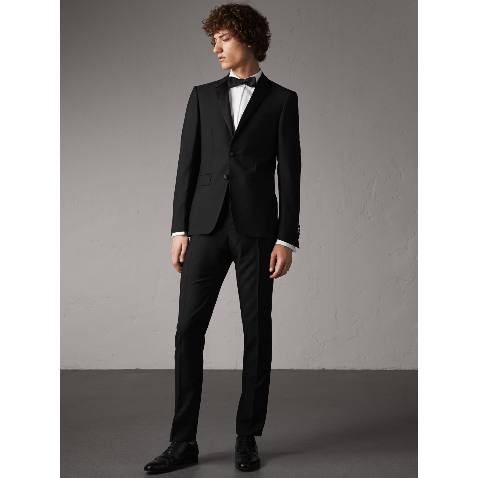 Slim Fit Wool Mohair Half-canvas Tuxedo in Black - Men | Burberry - gallery image 1