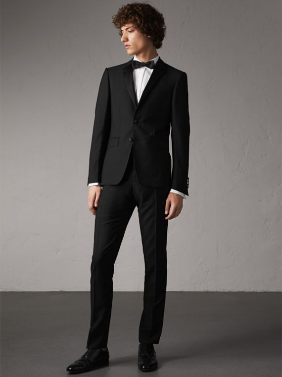 Slim Fit Wool Mohair Half-canvas Tuxedo in Black