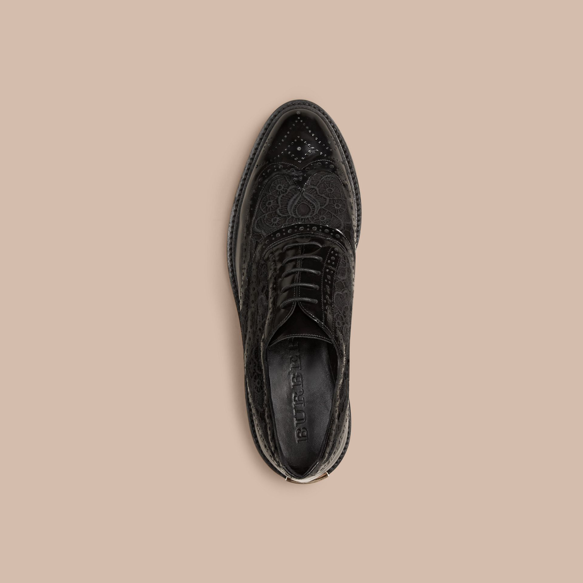 Black Leather and Lace Wingtip Brogues - gallery image 3
