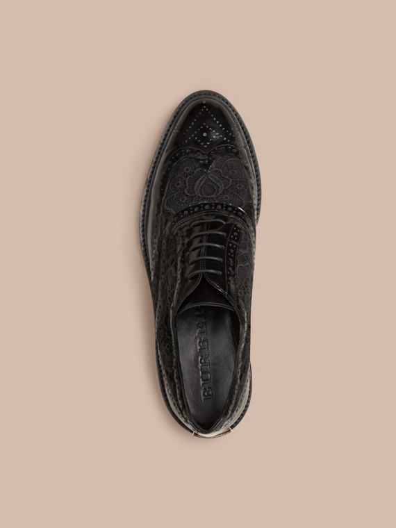 Black Leather and Lace Wingtip Brogues - cell image 2