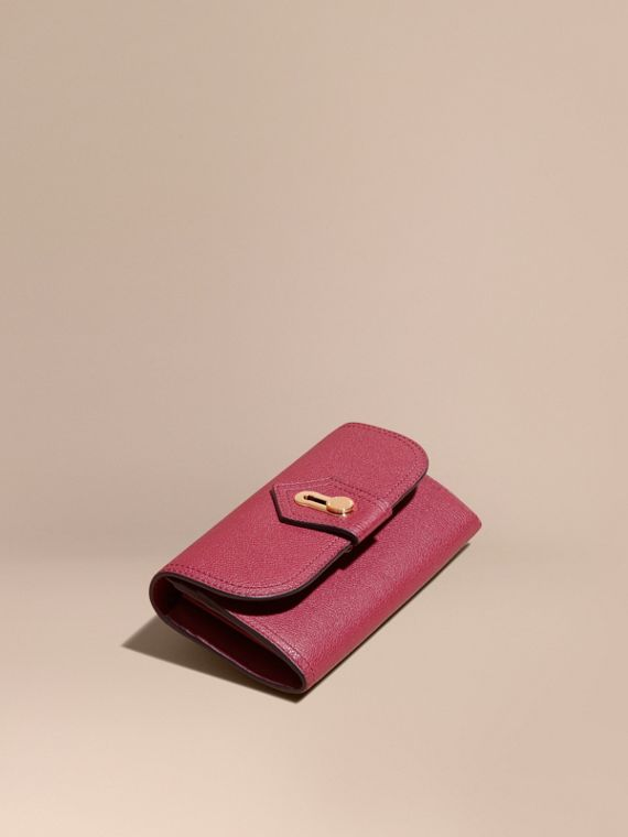 Textured Leather Continental Wallet Dark Plum