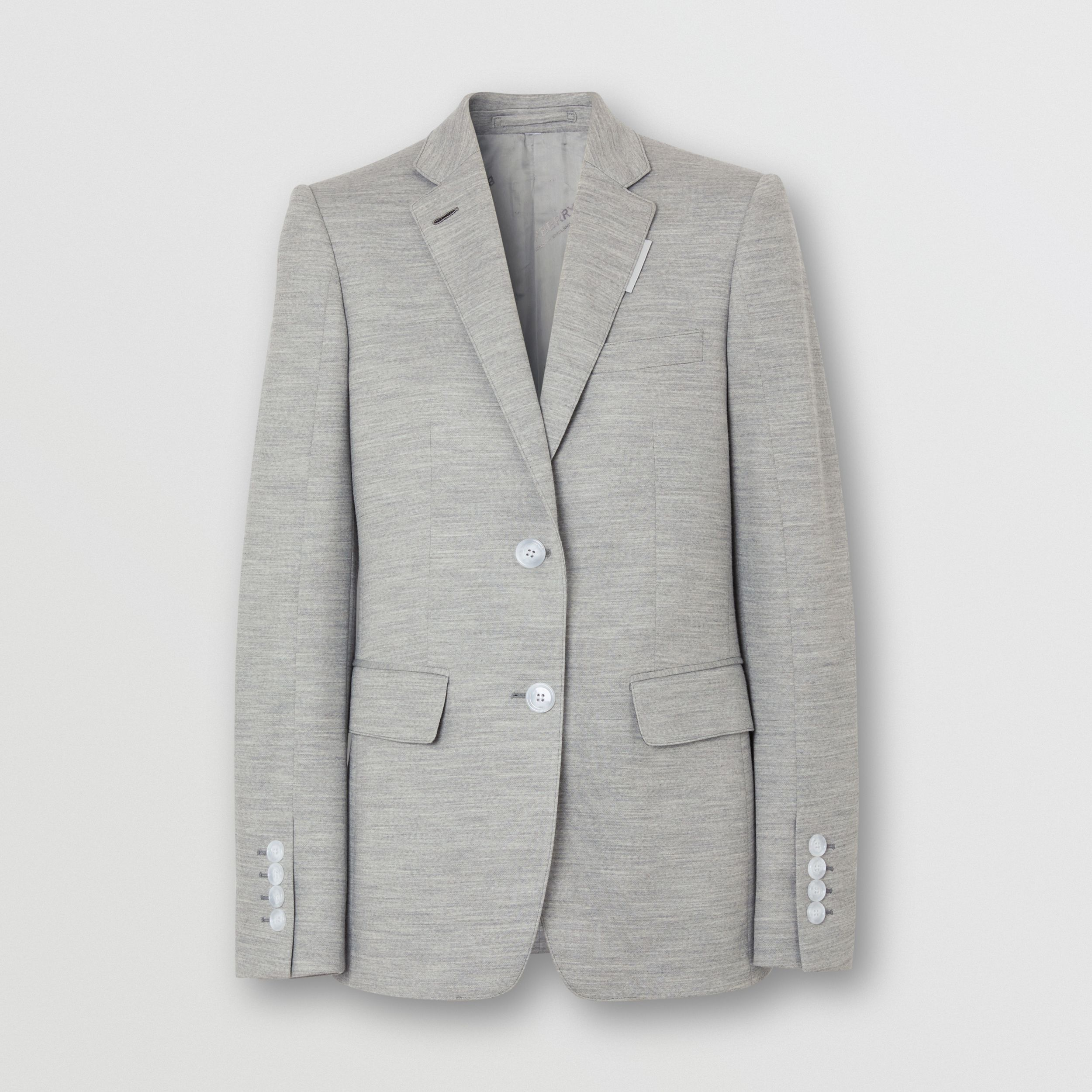 Technical Wool Jersey Blazer in Grey Taupe Melange - Women | Burberry - 4