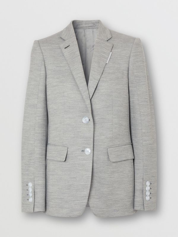 Technical Wool Jersey Blazer in Grey Taupe Melange - Women | Burberry - cell image 3