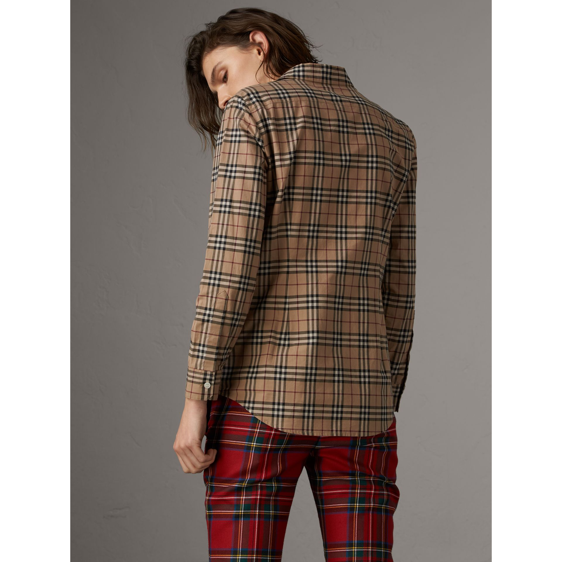 Vintage Check Cotton Shirt in Camel - Women | Burberry Singapore - gallery image 3