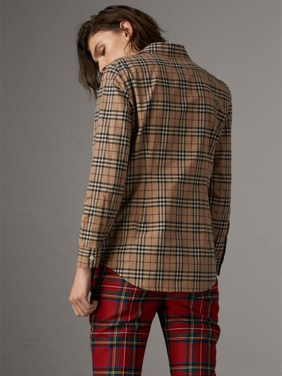 Vintage Check Cotton Shirt in Camel - Women | Burberry - cell image 2