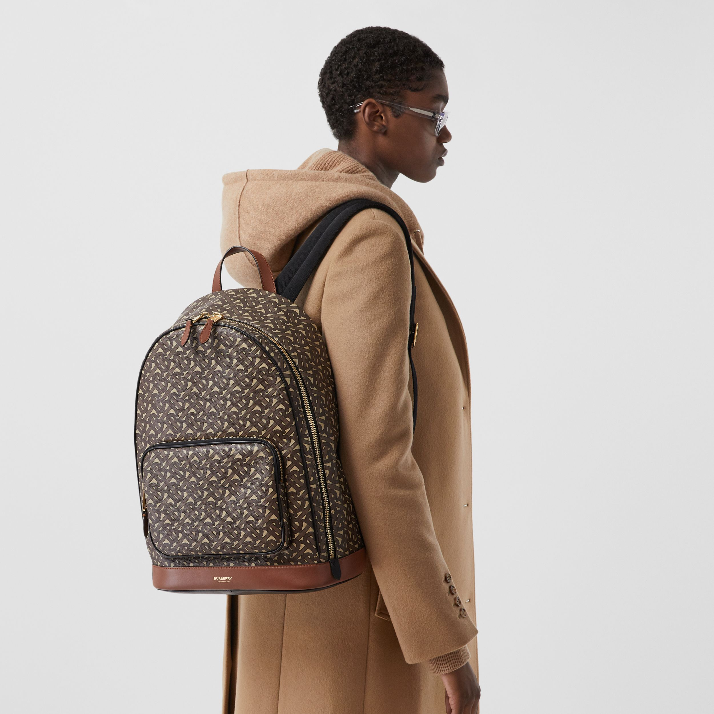 Monogram Print E-canvas and Leather Backpack in Bridle Brown - Men | Burberry - 3