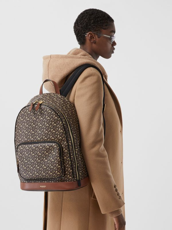 Monogram Print E-canvas and Leather Backpack in Bridle Brown - Men | Burberry - cell image 2