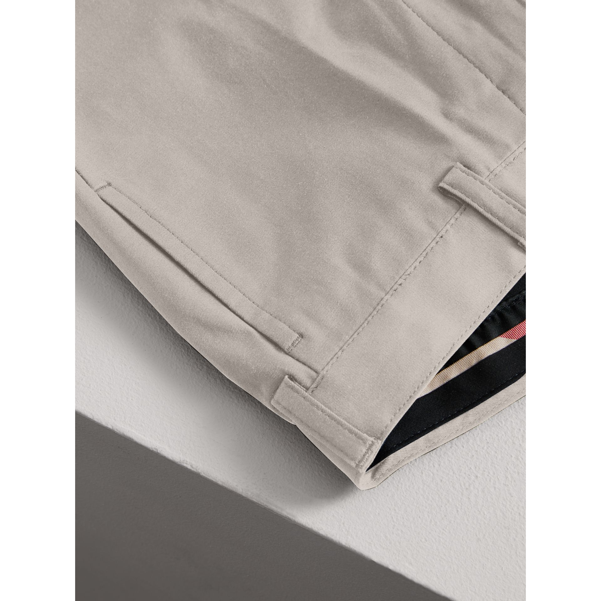 Tailored Stretch Cotton Trousers in Stone - Boy | Burberry - gallery image 1