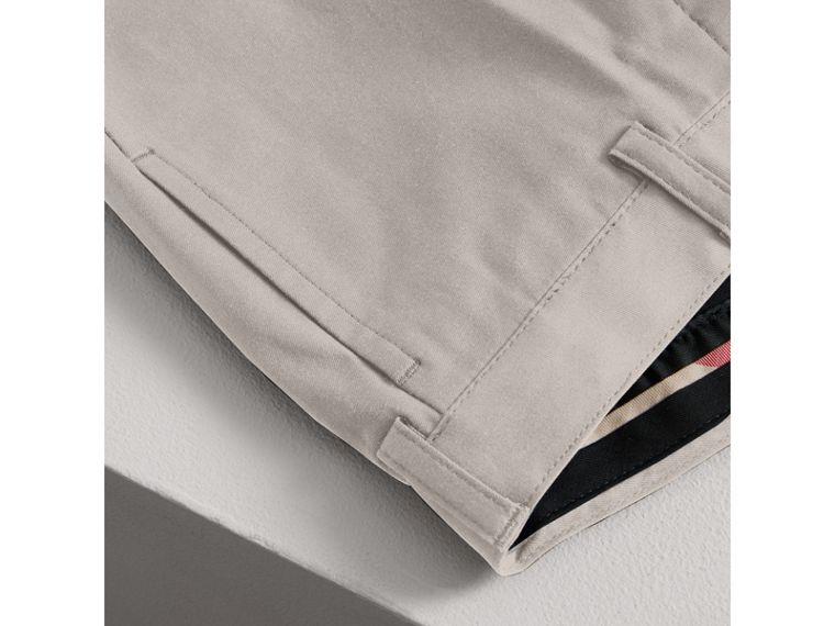 Tailored Stretch Cotton Trousers in Stone - Boy | Burberry - cell image 1