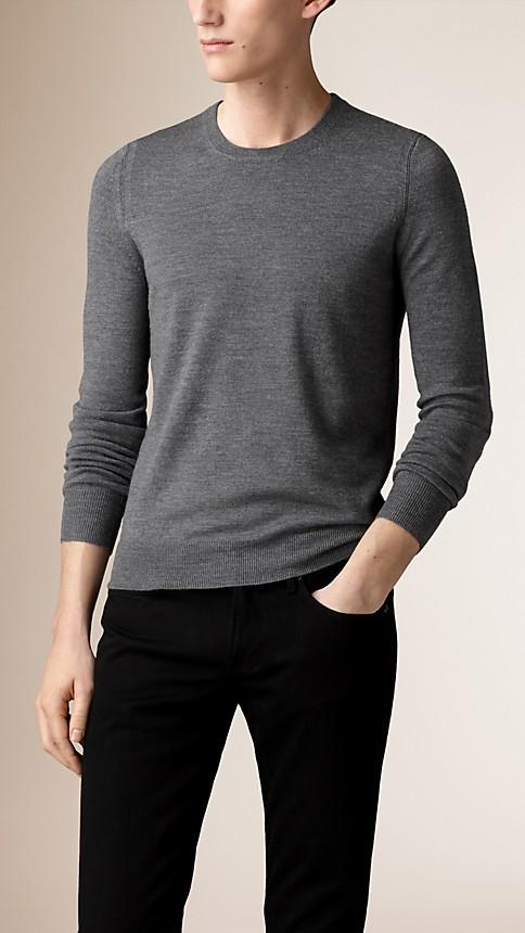 Mid grey mel Check Detail Merino Wool Sweater - Image 1