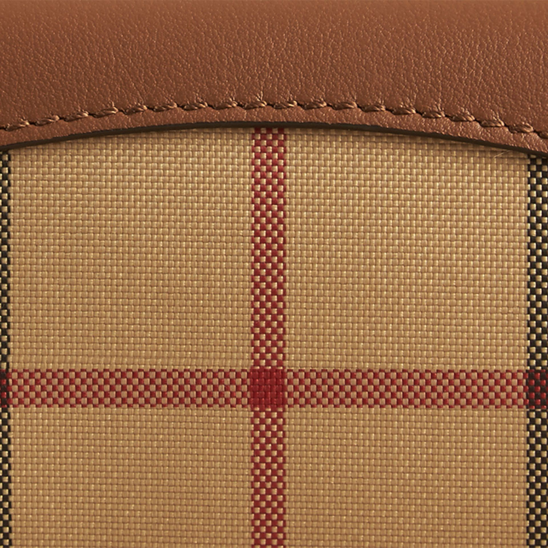 Tan Horseferry Check and Leather Card Case Tan - gallery image 2