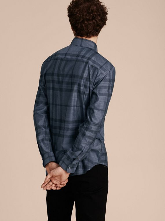 Bright steel blue Check Cotton Flannel Shirt Bright Steel Blue - cell image 2