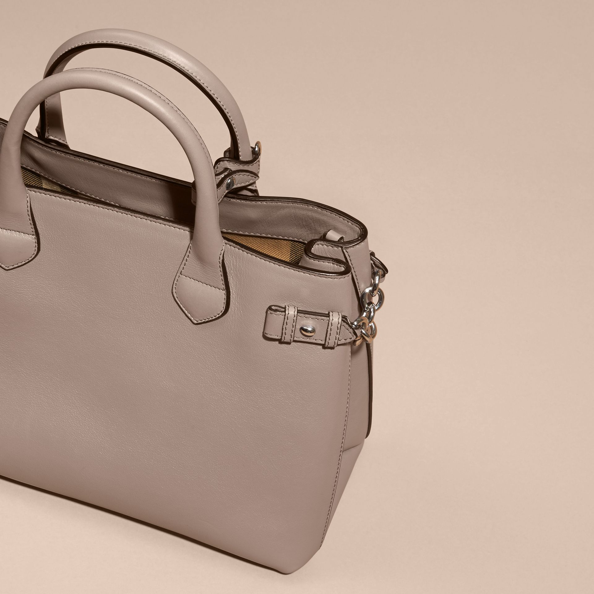 The Medium Banner in Leather with Chain Detail in Thistle Grey - gallery image 4