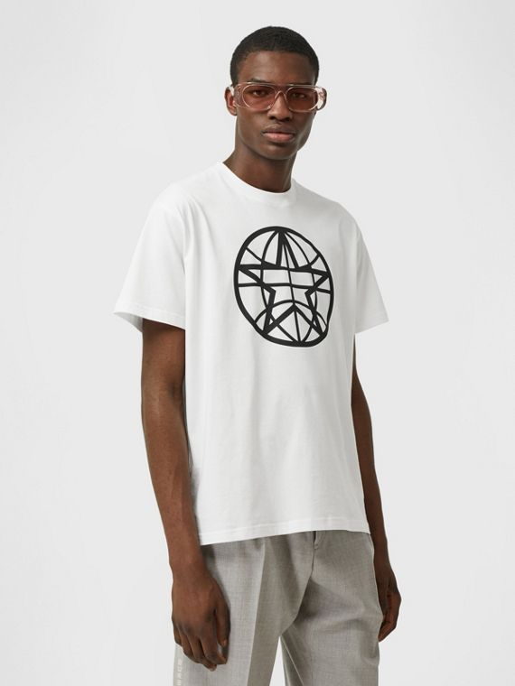 Globe Graphic Cotton Oversized T-shirt in White