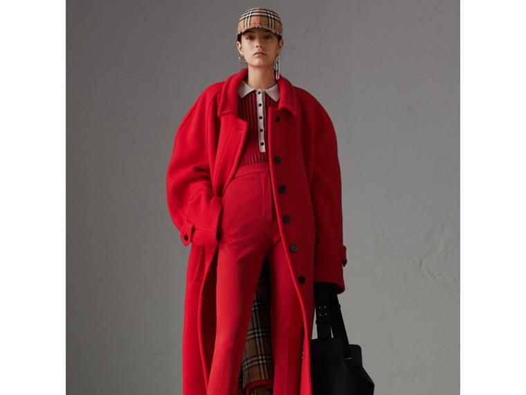 Polo en cachemire et soie bicolore (Rouge Militaire) - Femme | Burberry Canada - cell image 4