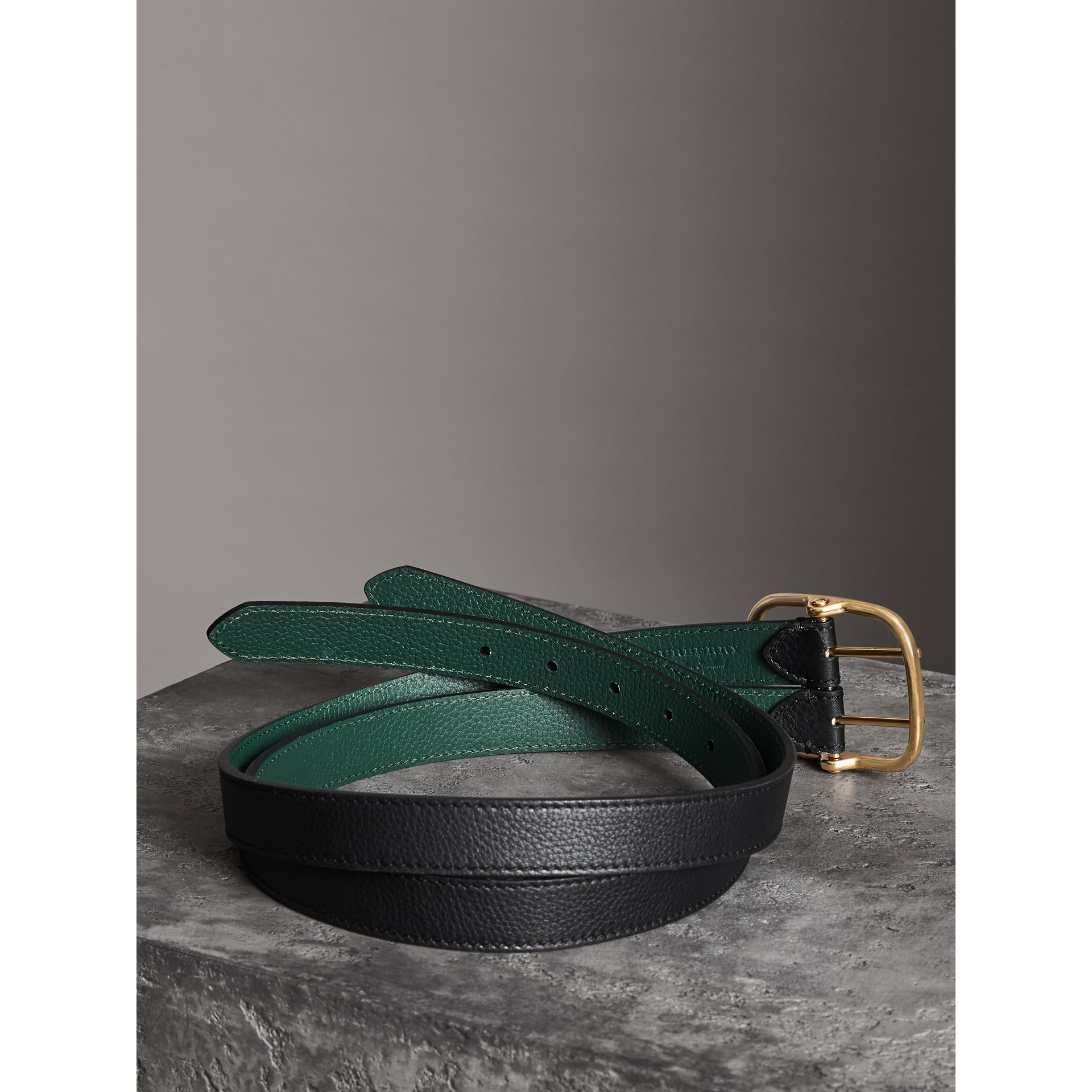 Double-strap Leather Belt in Black/sea Green - Women | Burberry - gallery image 3