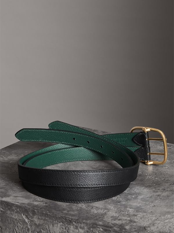 Double-strap Leather Belt in Black/sea Green - Women | Burberry Hong Kong - cell image 3