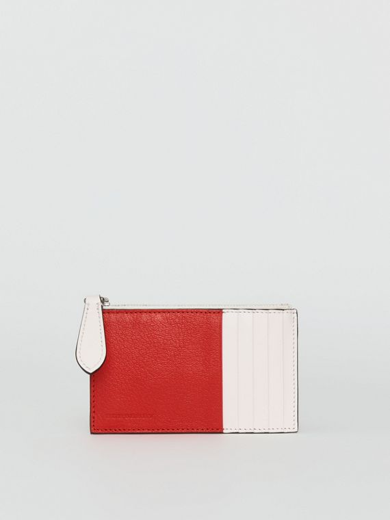 Two-tone Leather Zip Card Case in Bright Red