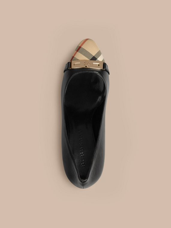 Horseferry Check Leather Pumps in Black - Women | Burberry Australia - cell image 2