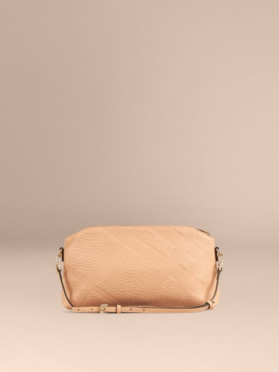 Pale apricot Small Embossed Check Leather Clutch Bag Pale Apricot - cell image 2
