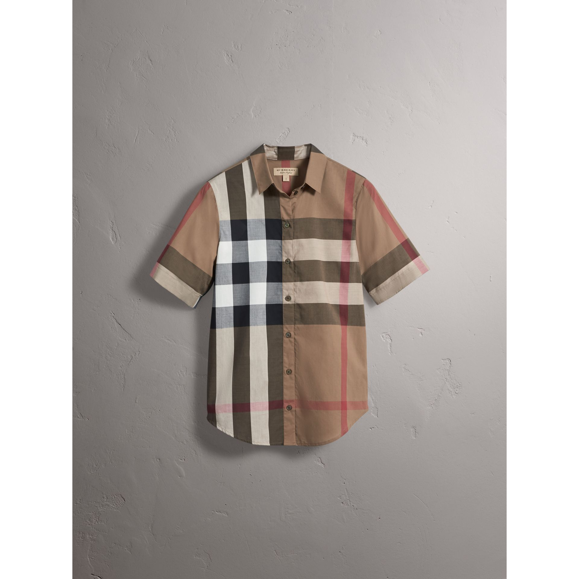 Short-sleeved Check Cotton Shirt in Taupe Brown - Women | Burberry United Kingdom - gallery image 3