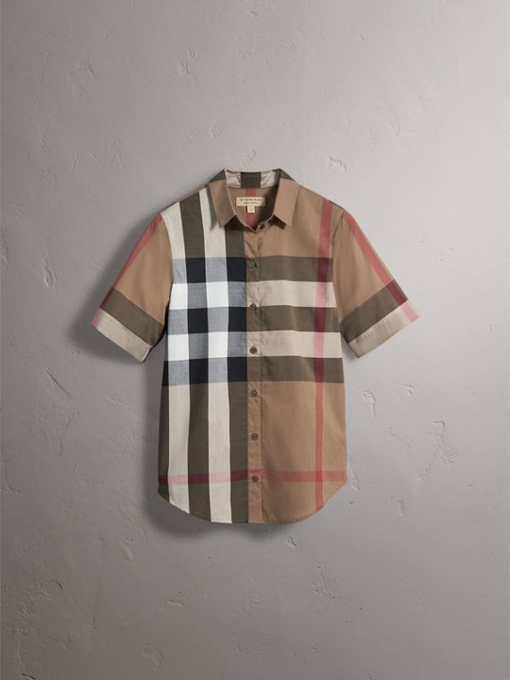 Short-sleeved Check Cotton Shirt in Taupe Brown - Women | Burberry - cell image 2