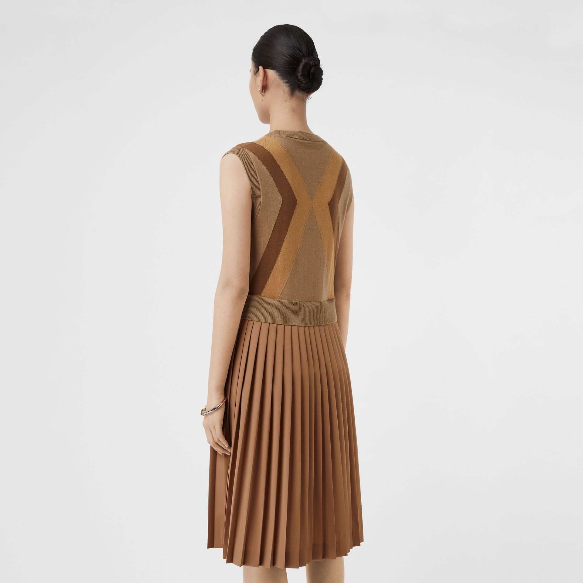 Sleeveless Knitted Wool V-neck Dress in Acorn - Women | Burberry - gallery image 2