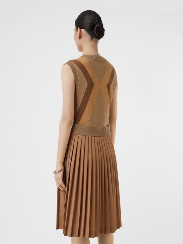 Sleeveless Knitted Wool V-neck Dress in Acorn - Women | Burberry - cell image 2