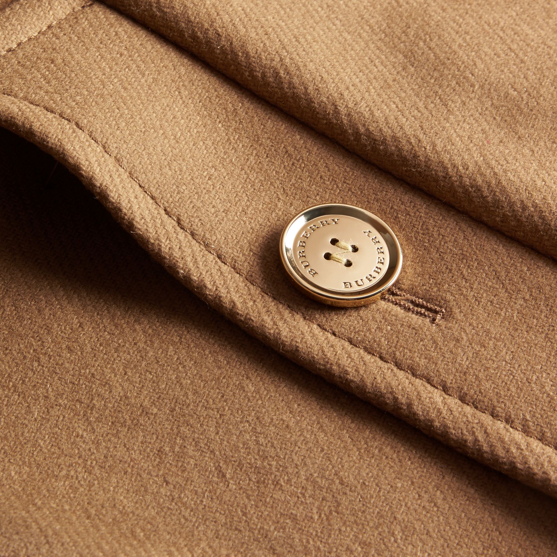 Camel Technical Wool Cashmere Blend Collarless Coat - gallery image 2