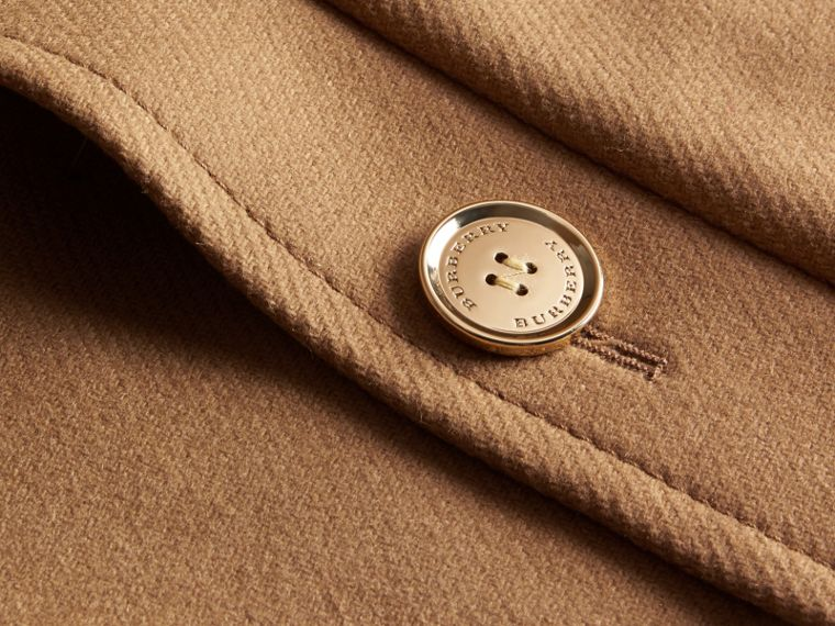 Camel Technical Wool Cashmere Blend Collarless Coat - cell image 1