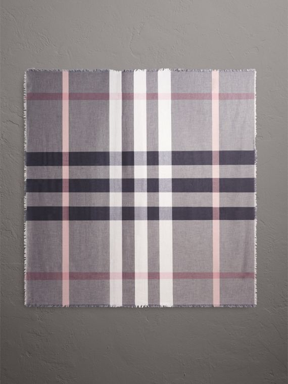 Check Modal and Wool Square Scarf in Antique Rose - Women | Burberry United Kingdom - cell image 3