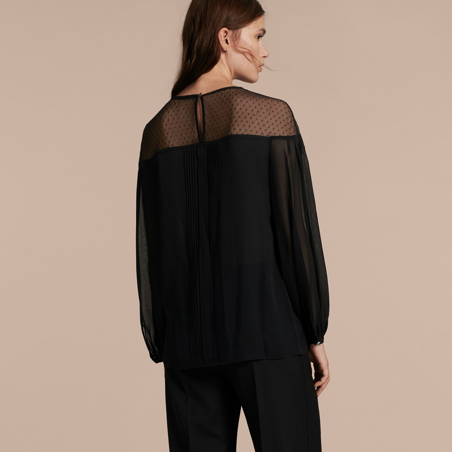 Black Silk Blouse with Net Yoke and Pintuck Detail - gallery image 3