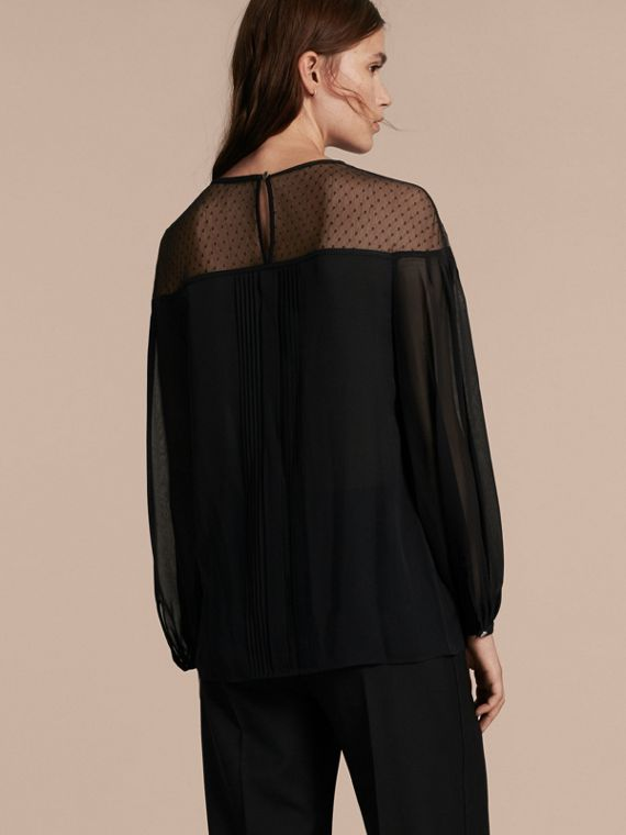 Black Silk Blouse with Net Yoke and Pintuck Detail - cell image 2