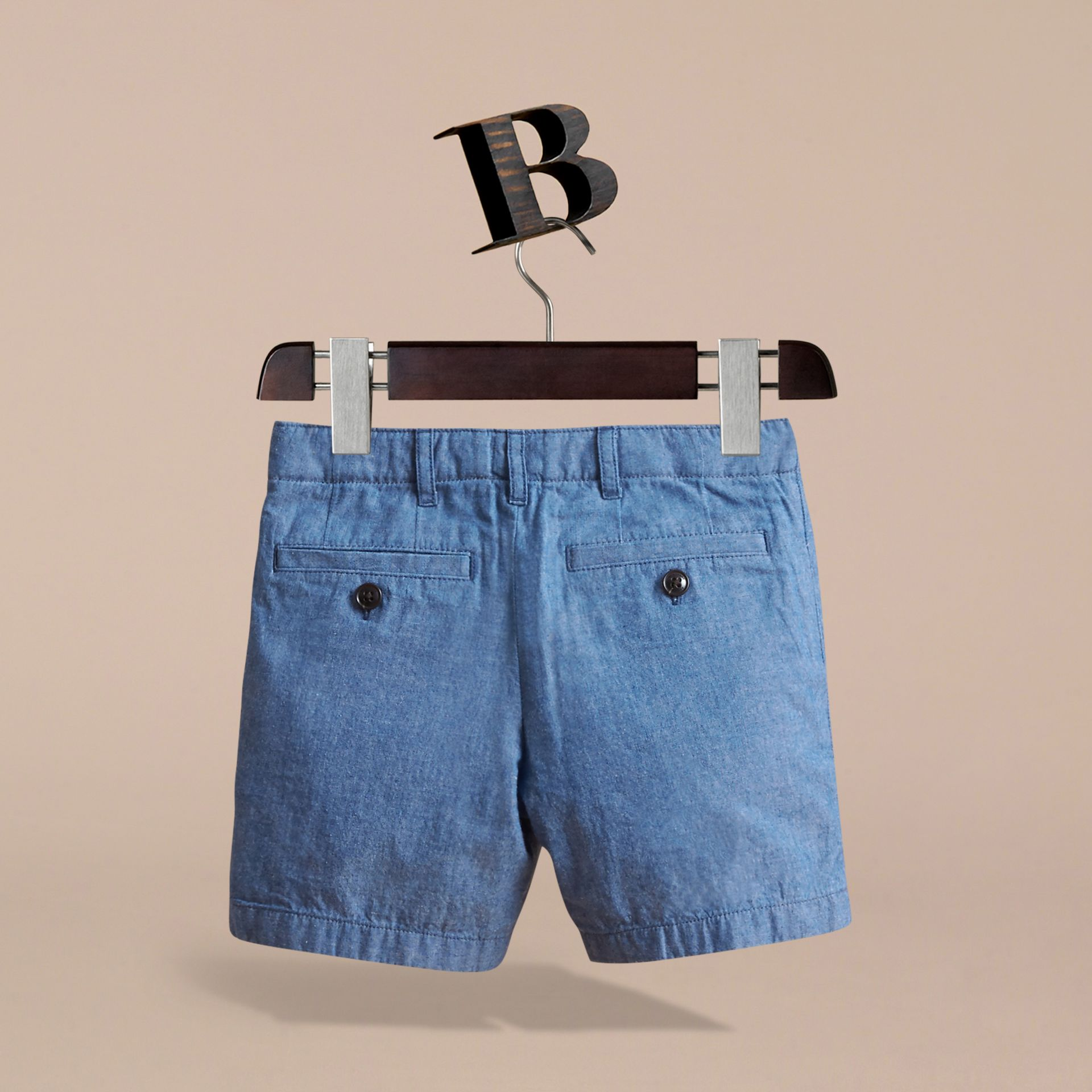 Lightweight Cotton Chambray Shorts in Stone Blue | Burberry - gallery image 4