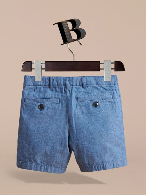 Lightweight Cotton Chambray Shorts in Stone Blue - Boy | Burberry - cell image 3