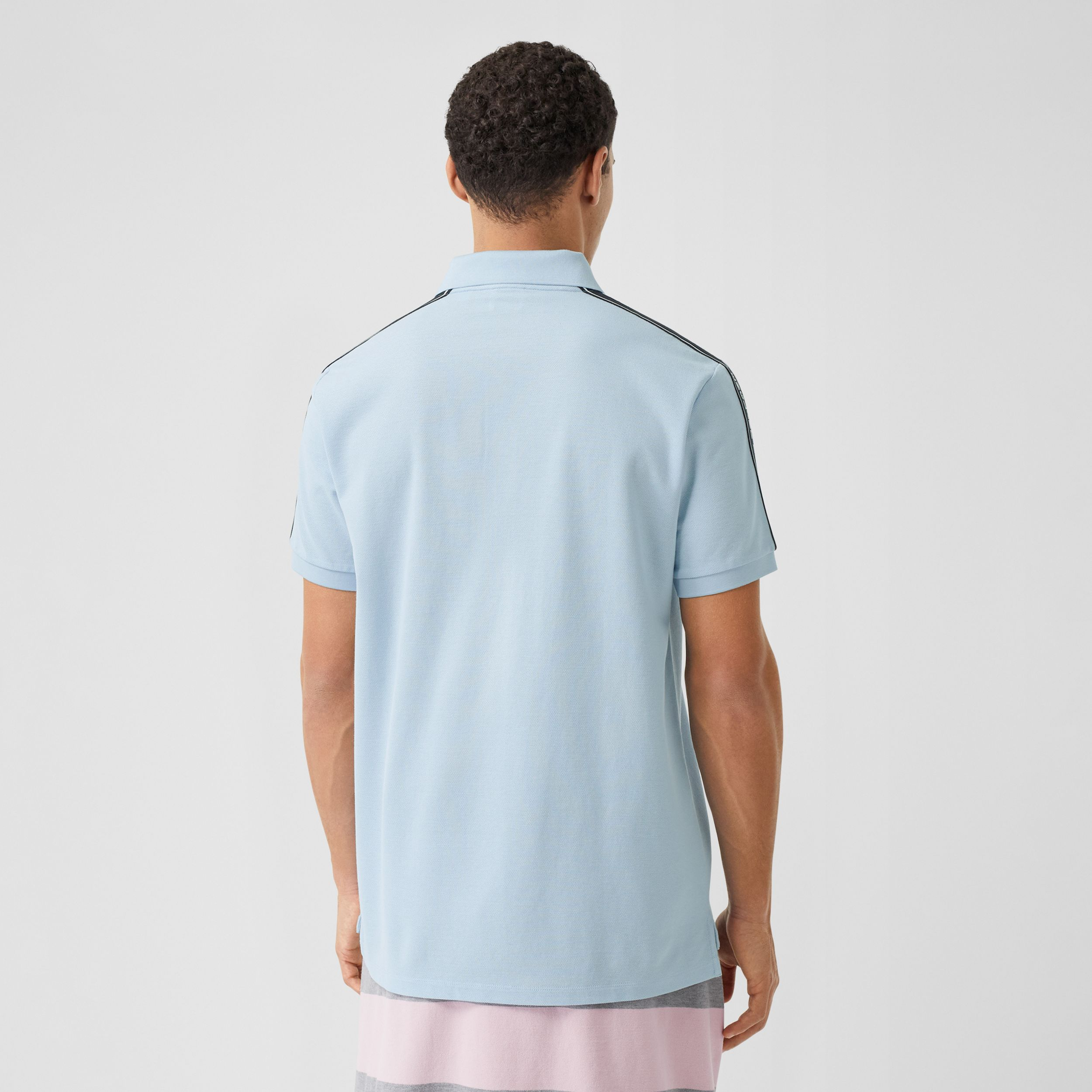 Logo Tape Cotton Piqué Polo Shirt in Pale Blue - Men | Burberry - 3