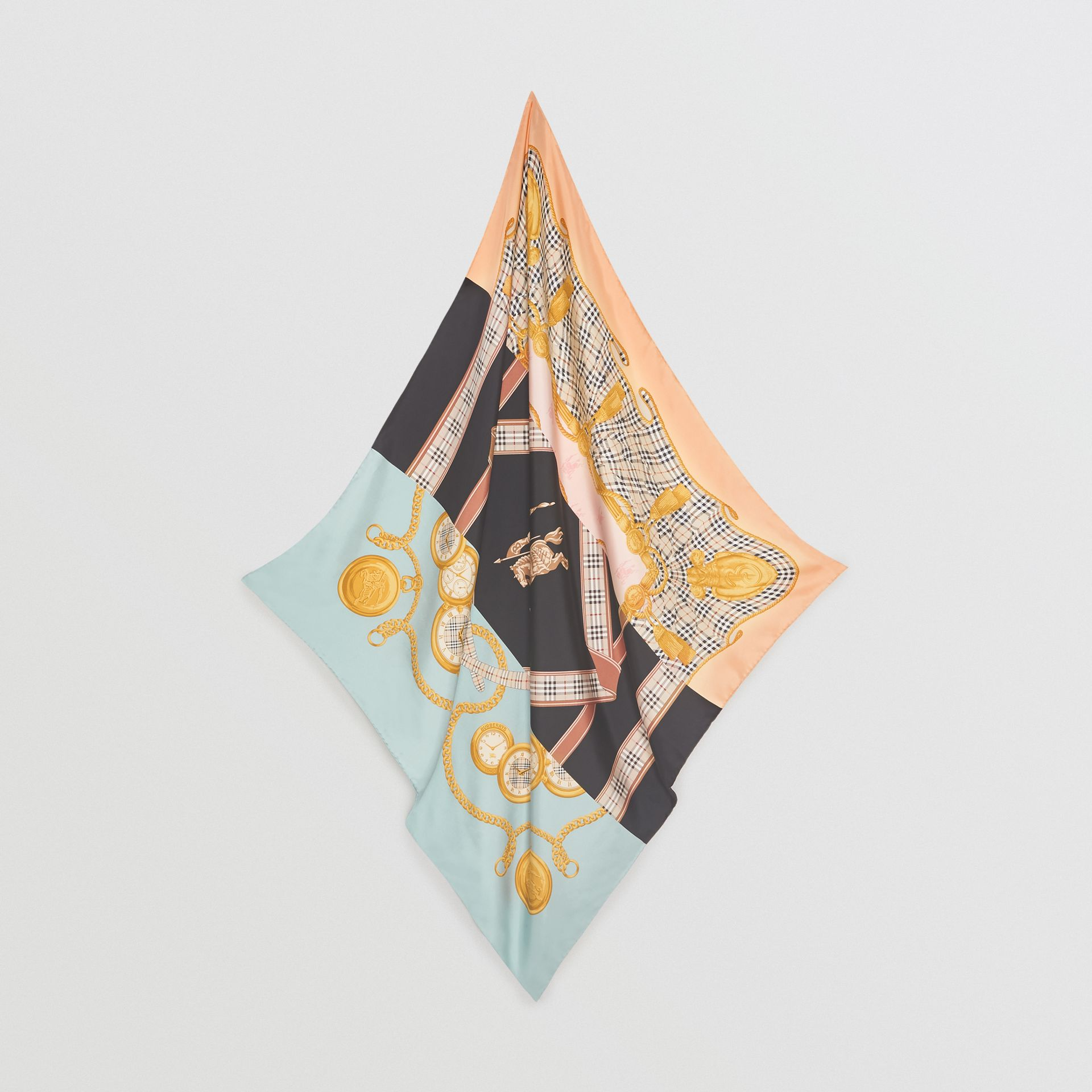Archive Scarf Print Silk Square Scarf in Multicolour | Burberry - gallery image 4