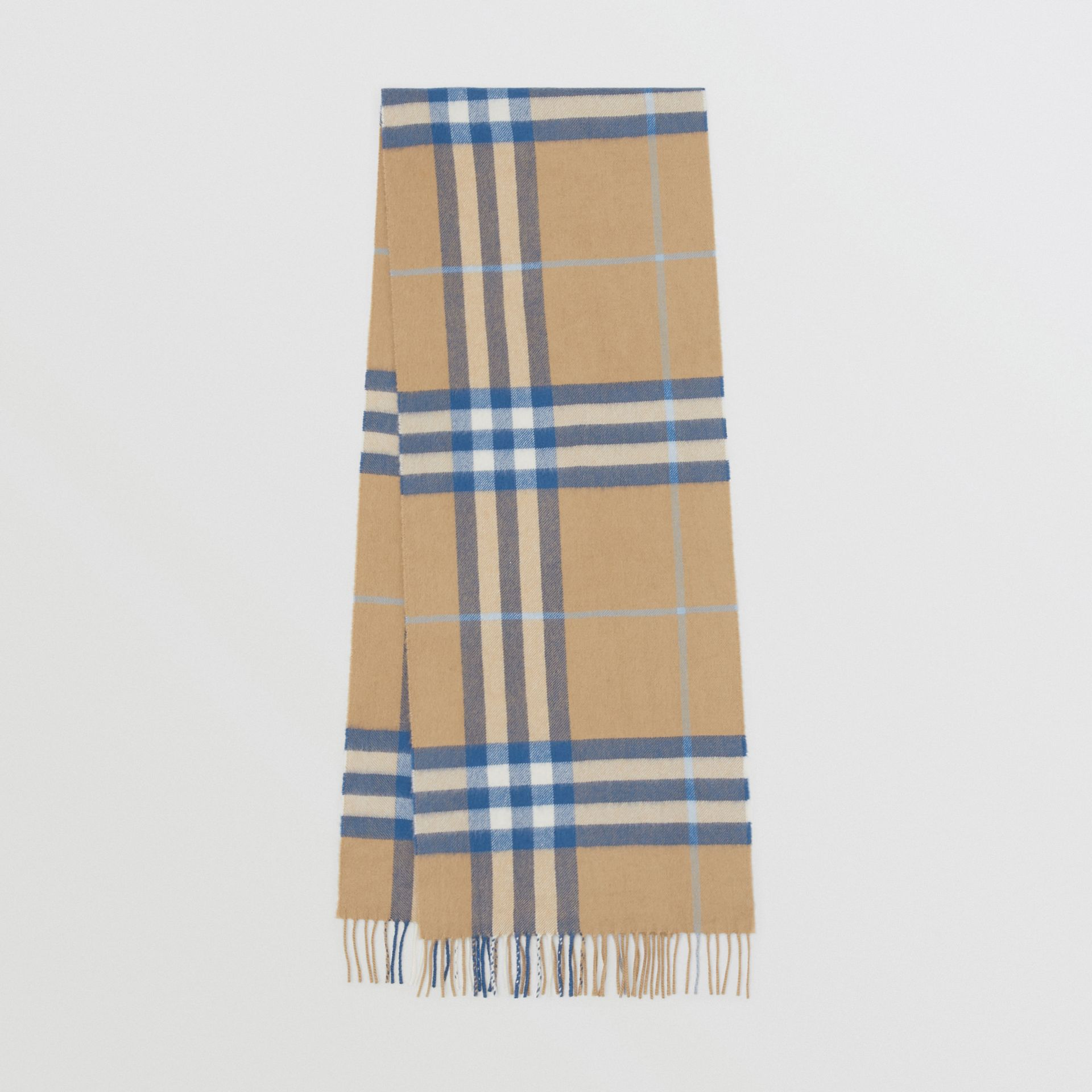 The Classic Check Cashmere Scarf in Arc Beige/inky Blue | Burberry Canada - gallery image 0