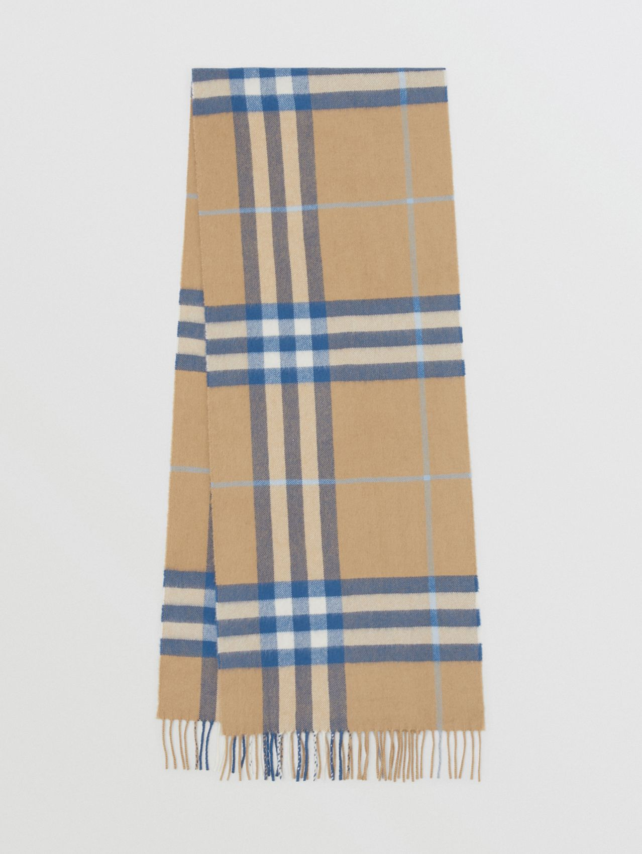 The Classic Check Cashmere Scarf in Arc Beige/inky Blue
