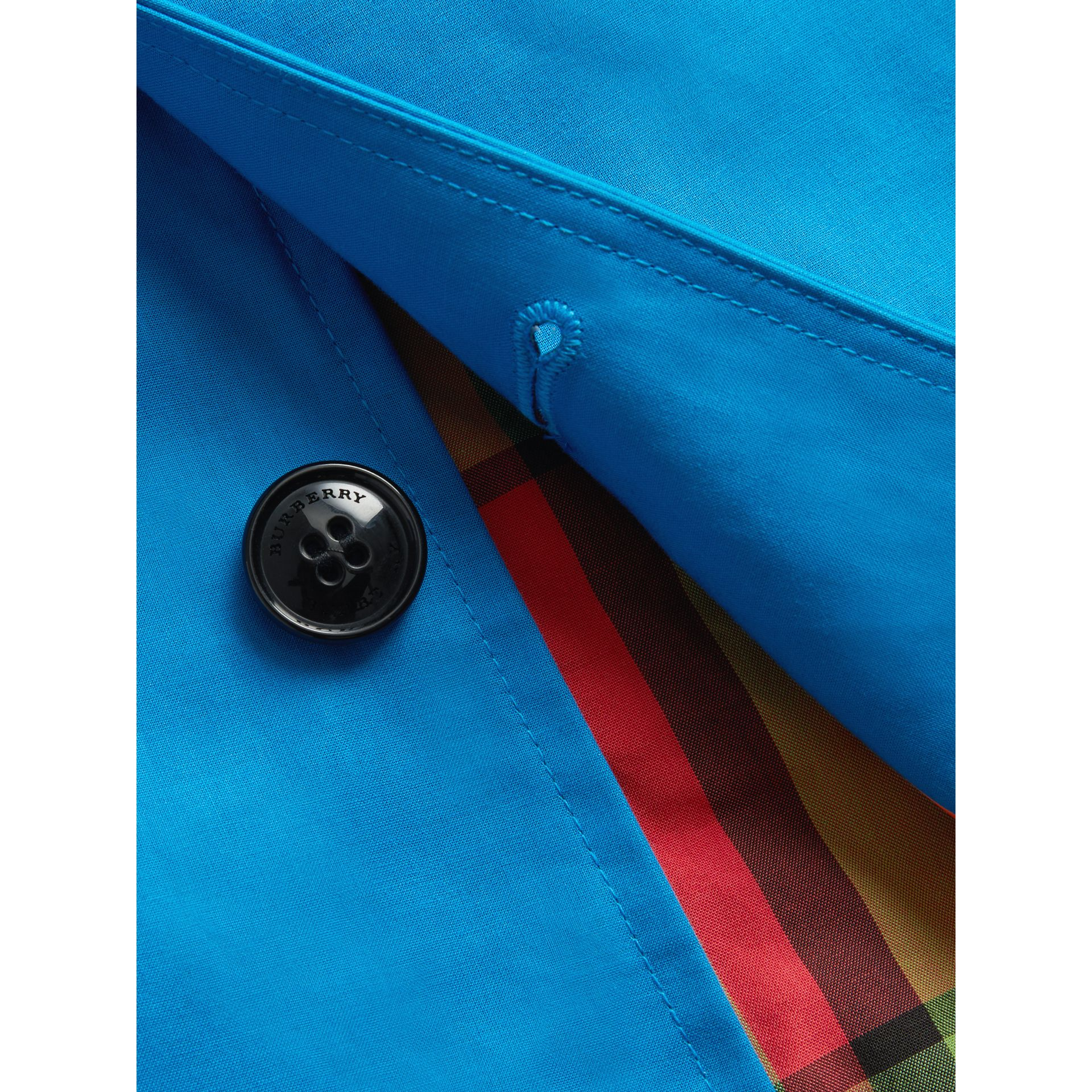 Mercerised Bonded Cotton Car Coat in Bright Blue | Burberry - gallery image 5