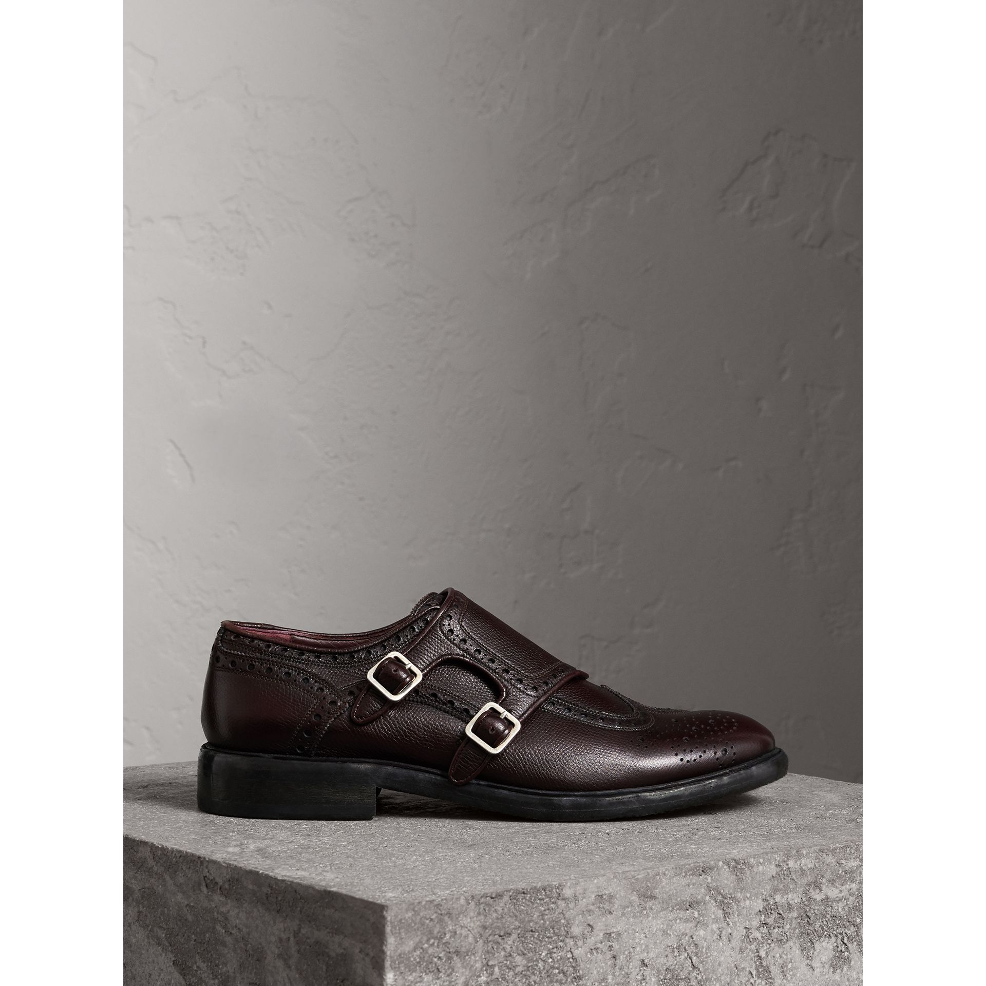 Brogue Detail Textured Leather Monk Shoes in Burgundy Red - Men | Burberry - gallery image 5