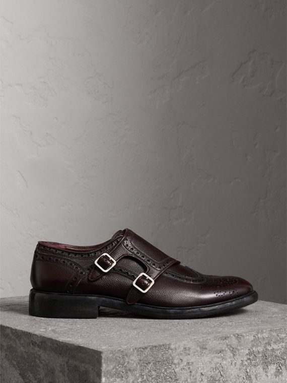 Brogue Detail Textured Leather Monk Shoes in Burgundy Red
