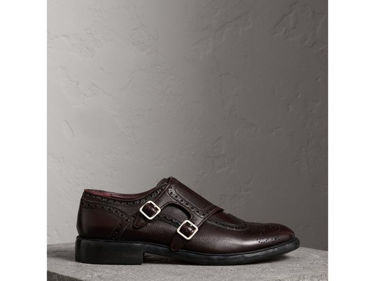 Brogue Detail Textured Leather Monk Shoes in Burgundy Red - Men | Burberry - cell image 4